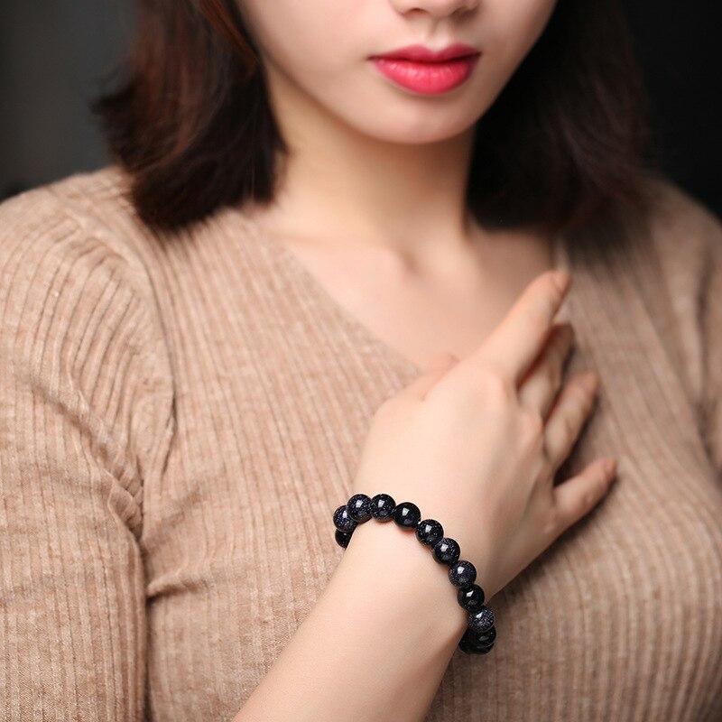 Recruit Money Bring Good Luck Natural Starry Sky Blue Sandstone Bracelet Represents Progress And Success Glittering Bracelet