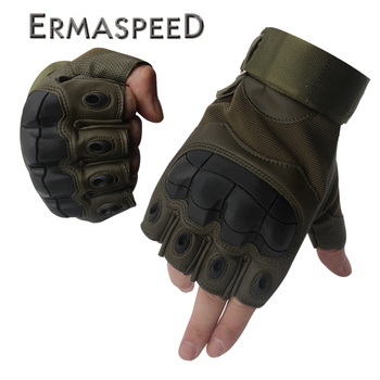 Pair Half Finger Motorcycle Gloves Summer Riding Tactical Hard Knuckle Leather Gloves Motorbike Gloves Men Off Road Biker Racing 1