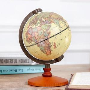 Image 2 - 1PC Rotante Vintage Mondo Globo Con Supporto Della Terra Ocean Mappa Sfera Desktop Da Ufficio Antico Complementi Arredo Casa Geografia Modello Educativo