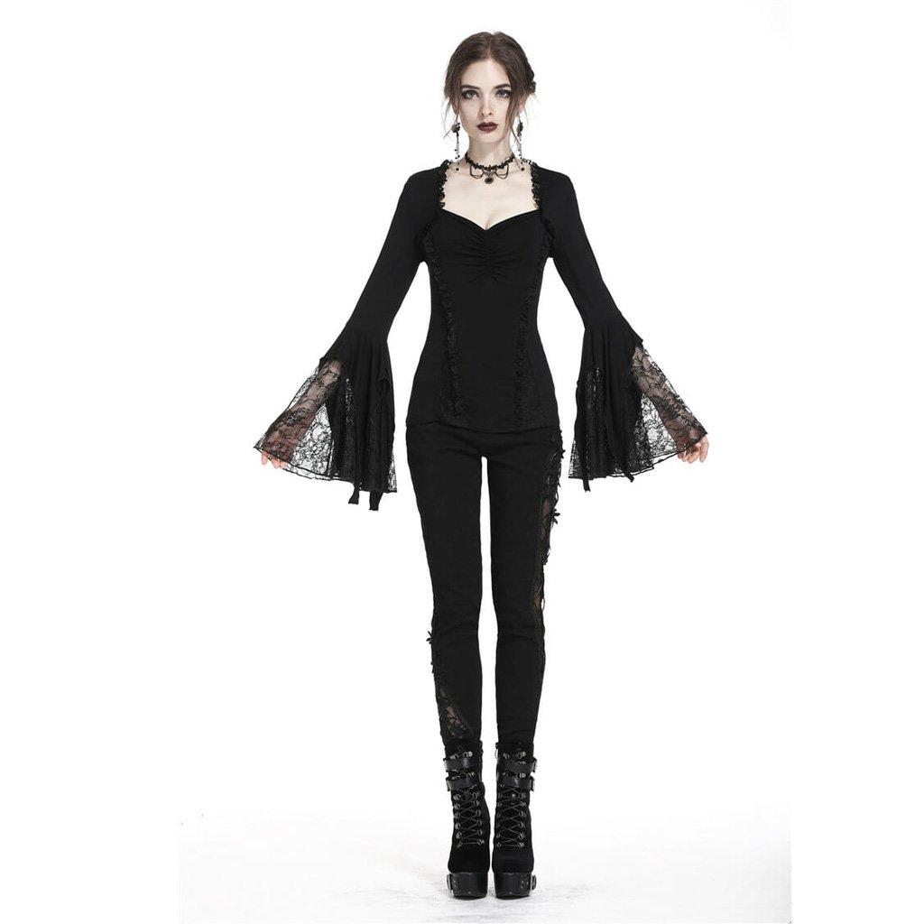 Женская готическая футболка Darkinlove, Короткий кружевной топ принцессы с рукавами колоколами и v образным вырезом, черная фланелевая футболка
