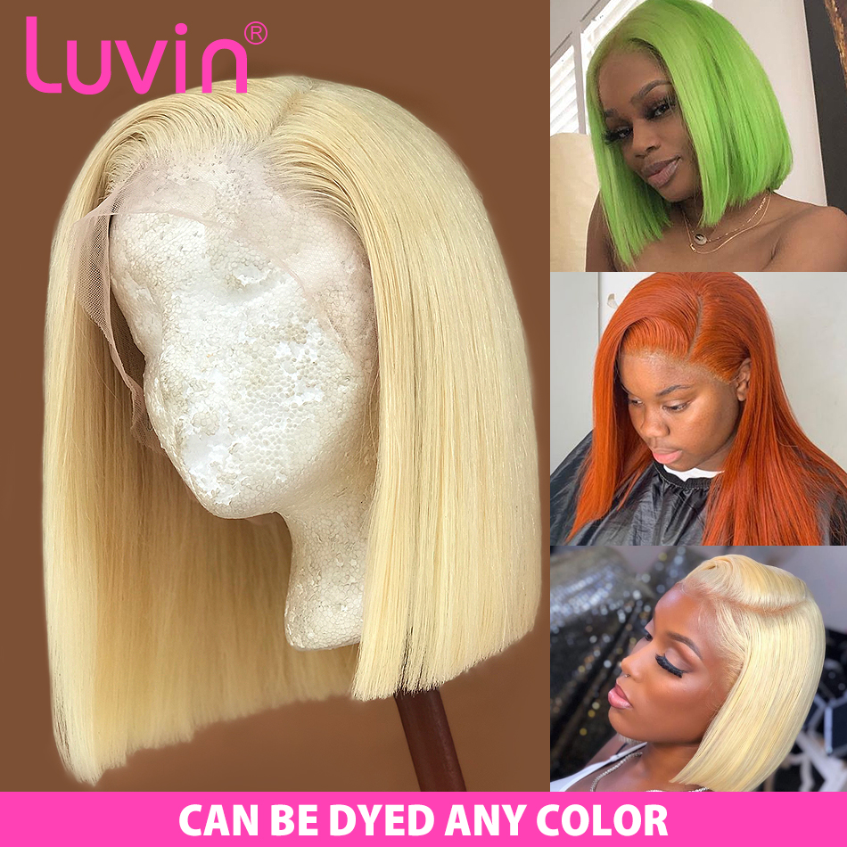 Luvin 613 Blonde 13X6 HD Transparent Lace Front Human Hair Wigs Straight Brazilian Short Bob Ombre Frontal Wig Black Woman