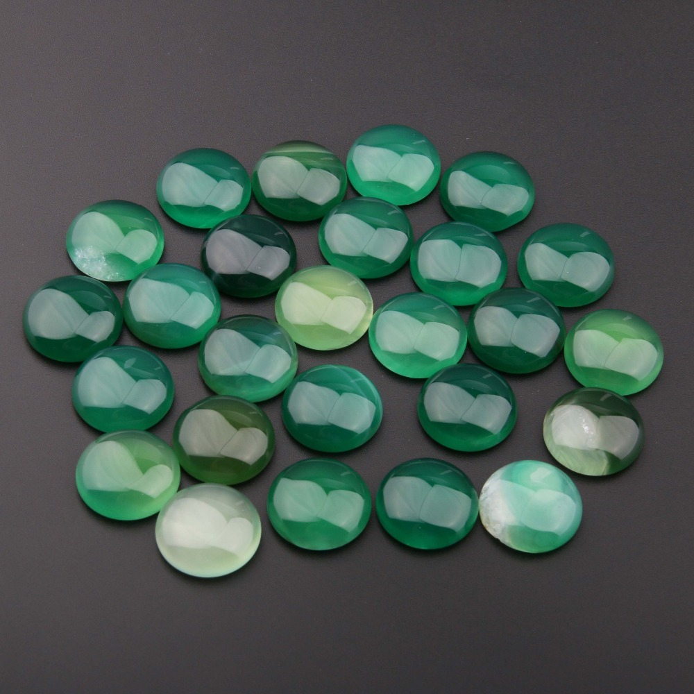 20PCS Natural Stones Green Agates Jade Stone Cabochon No Hole Beads For Making Jewelry DIY Ring Accessories Scattered Beads