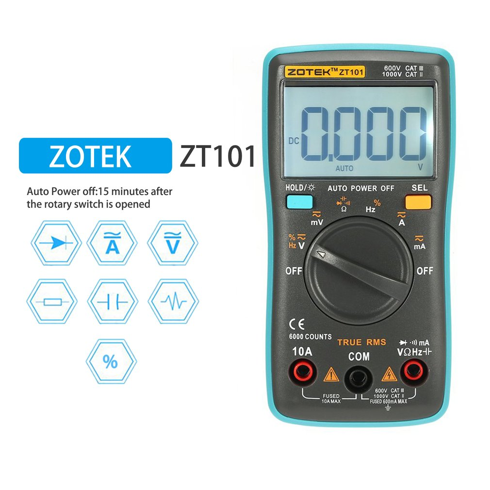 ZOTEK ZT101 Mini Auto Range Digital Multimeter 6000 Counts AC <font><b>DC</b></font> Ammeter Voltmeter 550V Overload Protection LCD Backlight image