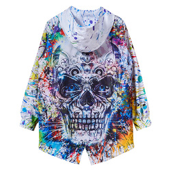 Gothic Punk Jacket Cardigan Punk And Gothic Coats Men Windproof Skull Trench Coat Men Streetwear Mens Long Windbreaker II50FY