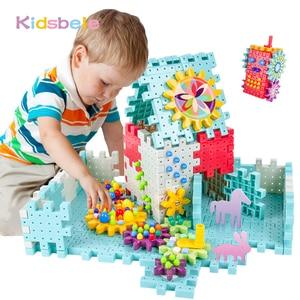 Image 1 - 키즈 3D 기어 블록 DIY 장난감 버섯 손톱 플라스틱 교육 완구 조립 빌딩 블록 키트 소년 소녀를위한 벽돌 장난감