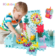 Kids 3D Gears Block DIY Toy Mushroom Nail Plastic Educational Toys Assembly Building Blocks Kit Bricks Toys For Boys Girls