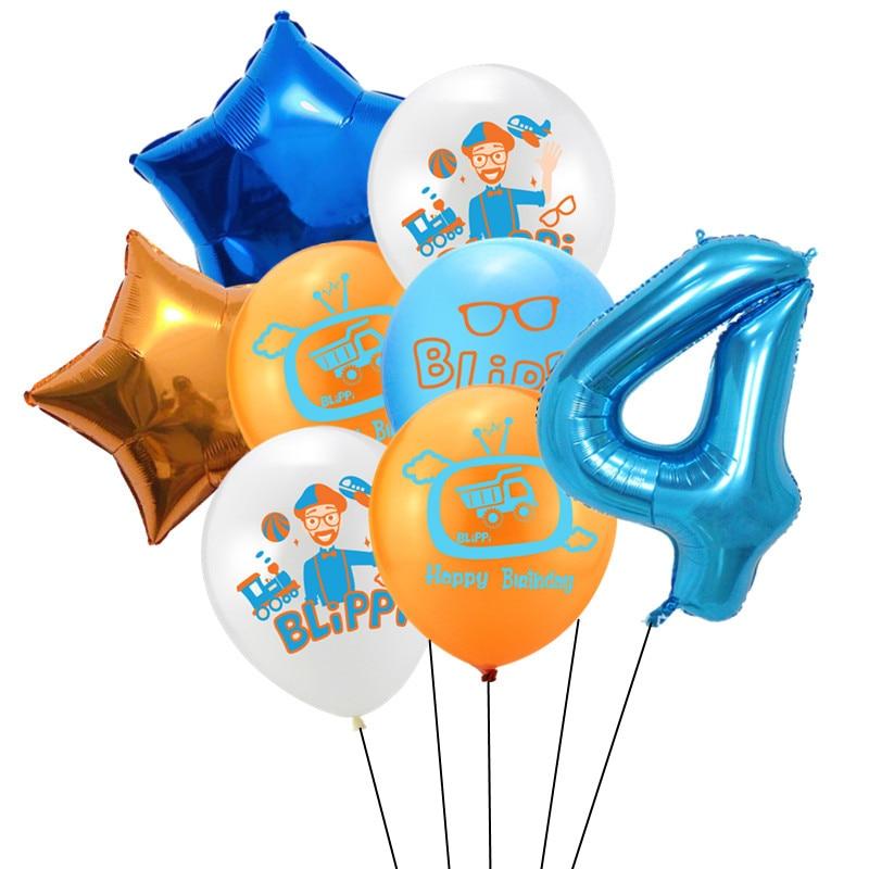 8 шт Blippi Фольга Шар 32 дюймов синий номер латексные воздушные шары с днем рождения Свадебная вечеринка украшения поставки детского дня рождения-3