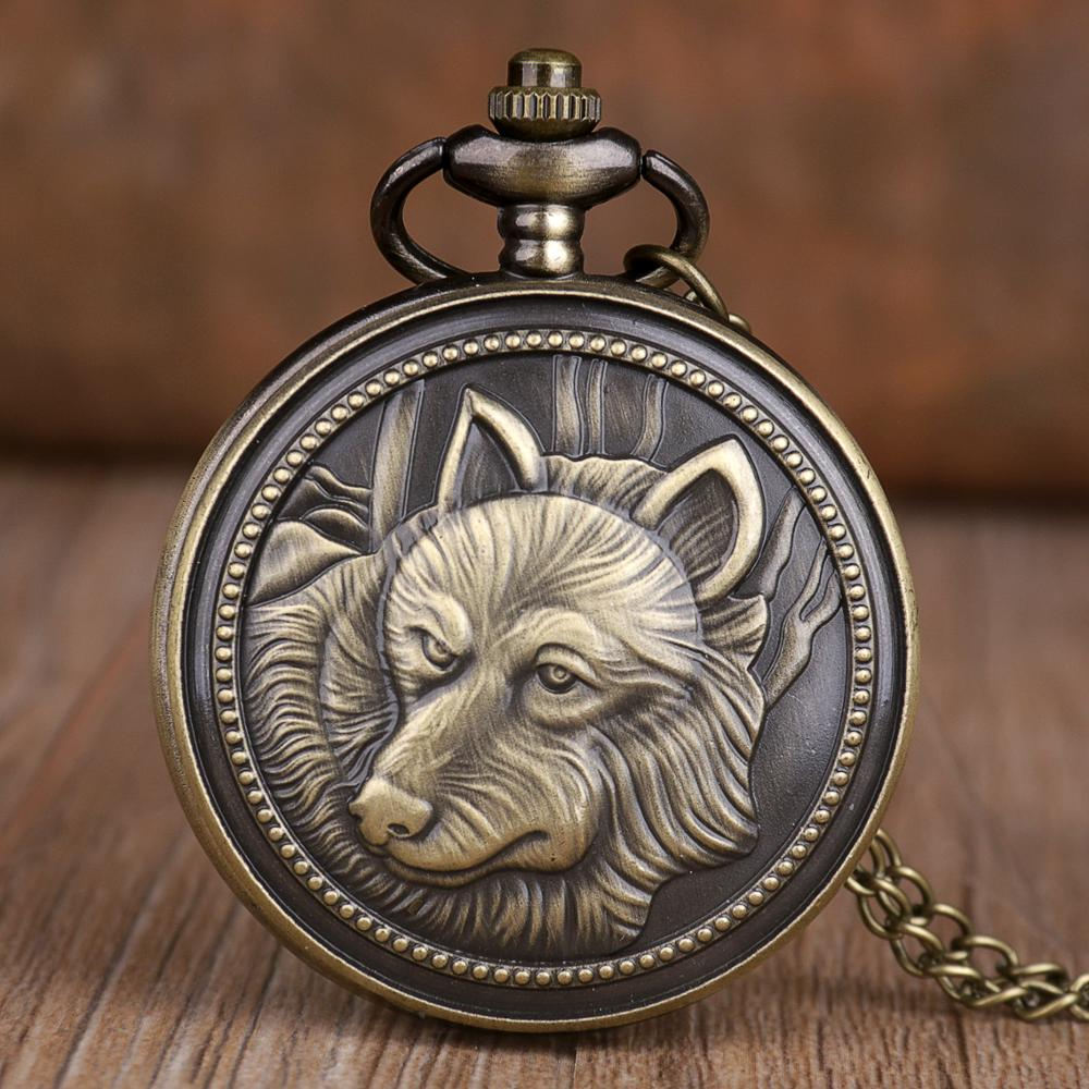 Antique Vintage Retro Bronze Power Wolf Pocket Watches Steampunk Dog Quartz Pocket Watches With Necklace Chain Best Gifts