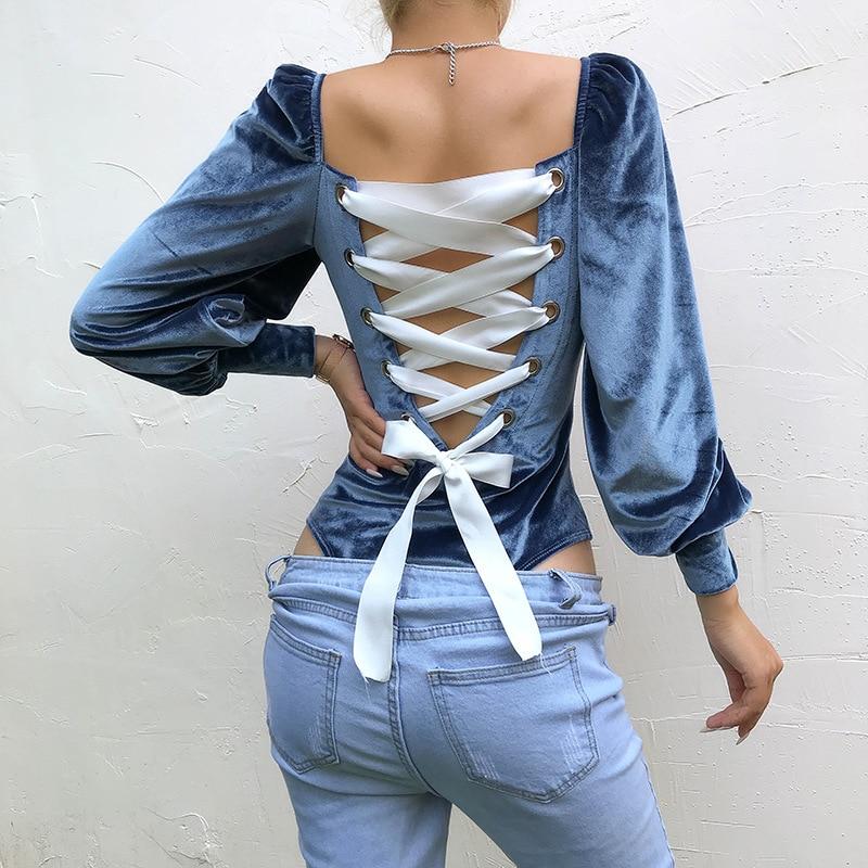 Imily Bela Elegant Bodysuits Women Back Lace Up Lantern Sleeve Blue Velvet Bodysuit Autumn Winter Body Mujer Street Wear