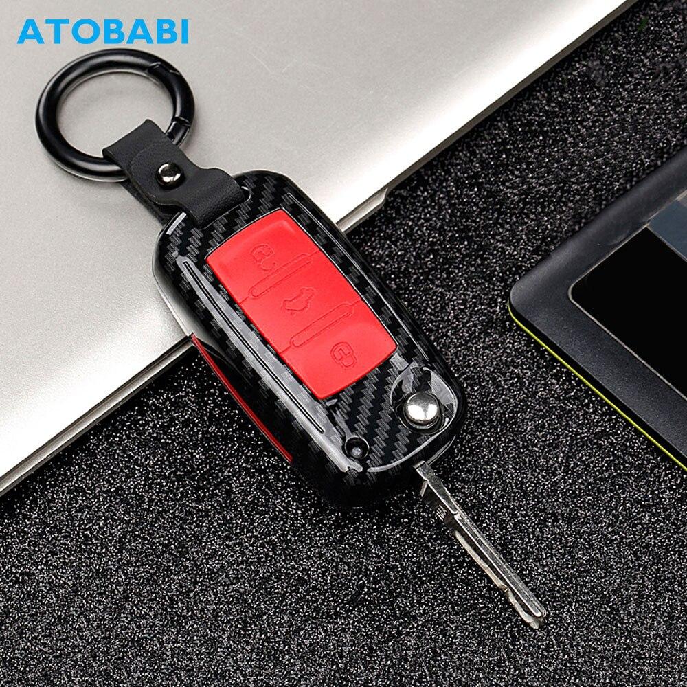Étui à clés de voiture en carbone pour VW Volkswagen Polo Golf 4 5 6 7 T5 Passat B6 B5 Skoda Octavia A5 A7 Seat Leon Ibiza Ateca couverture à distance