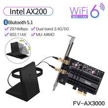 Adattatore Wireless Dual Band PCIe da 3000Mbps Intel AX200 Wi Fi 6 Bluetooth 5.1 scheda Wifi di rete 802/2.4 ac/ax G 5G per PC Desktop