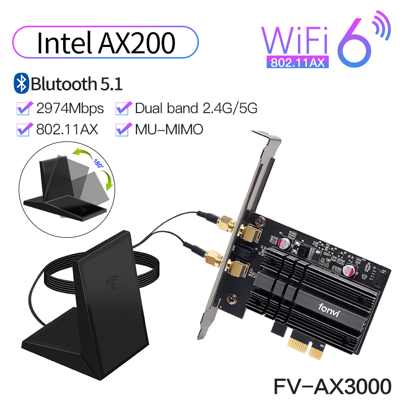 Wireless 3000Mbps PCIe Dual Band Adapter Intel AX200 Wi-Fi 6 Bluetooth 5 1 Network Wifi Card 802 11ac ax 2 4G 5G For Desktop PC