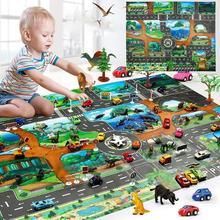 Городской дорожный детский коврик для ползания, коврик для лазания, Дорожный Коврик, Детский развивающий коврик для автомобилей, английский городской паркинг, карта, игровой коврик для ребенка