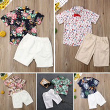 Boys Children Summer O-Neck Print Short Sleeve T-Shirt Top Pants Sets Beach Kid Baby Cotton Cartoon Sets