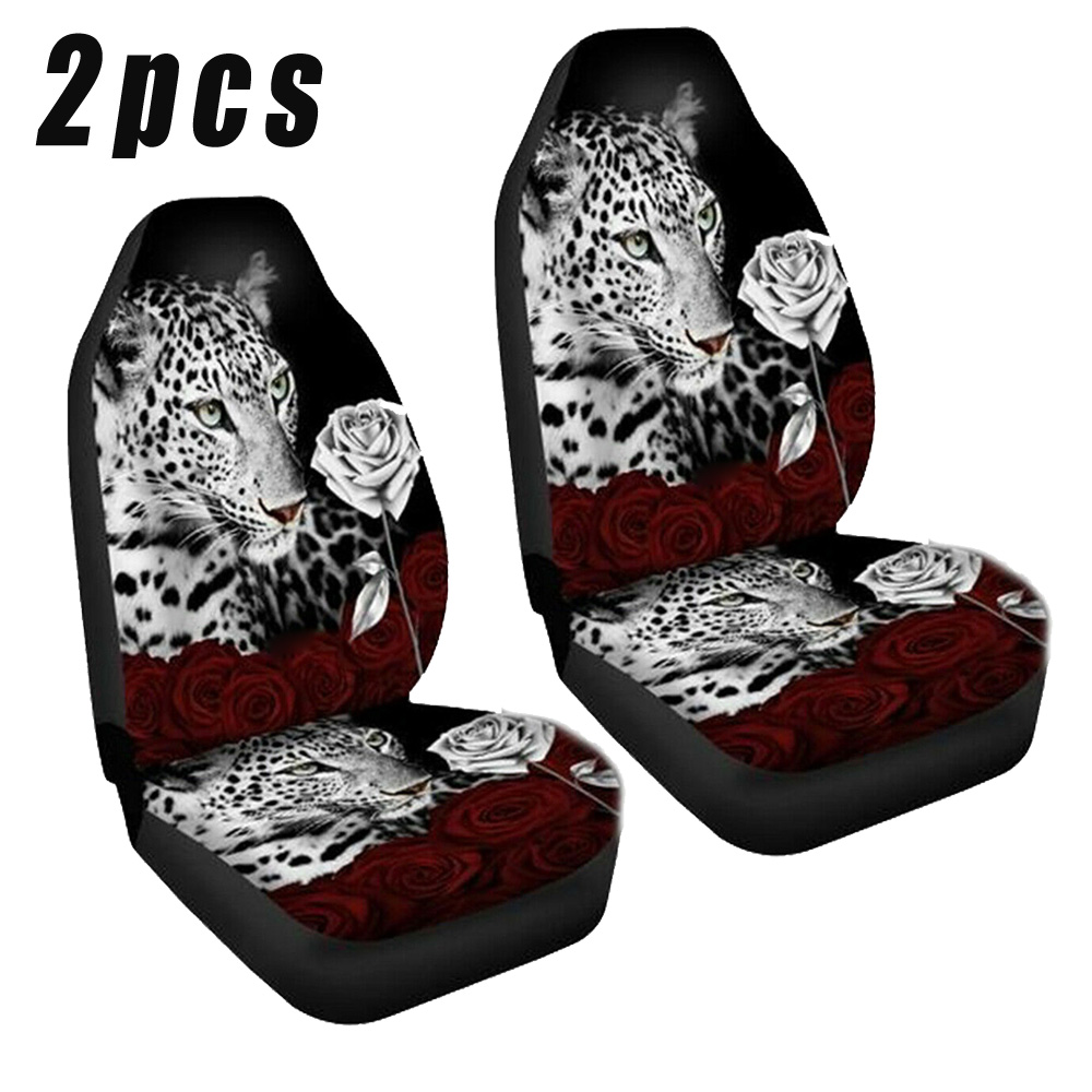 2pcs Set Auto Seat Covers Front Elastic Universal Washable 3D Print Decoration Interior Accessories Protector Parts