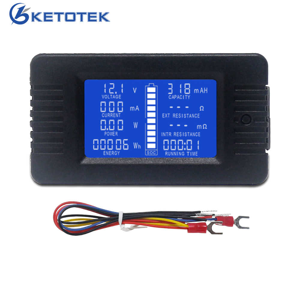 DC Battery Tester 0-200V 10A 300A DC Voltage Current Meter Power Capacity Internal External Resistance SOC Running Time Detector