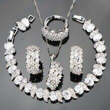 화이트 지르콘 실버 925 웨딩 의상 쥬얼리 세트 여성 팔찌 클립 귀걸이 펜던트 목걸이 반지 세트 보석 선물 상자