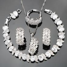 Conjunto de joyas de boda para mujer, de plata de circón blanco, conjunto de joyas para mujer, aretes de Clip, collar, anillos, joyería, caja de regalo, 925