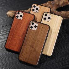 For IPhone 11 Pro MAX Natural Bamboo Wooden Phone Case for Iphone 11 Real Wood Cover Soft Silicone Edge Hard Case natural wooden phone case for huawei mate rs maters case cover walnut rosewood black ice wood shell real wood
