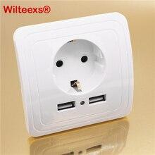 WILTEEXS Çift USB Bağlantı Noktası 5V 2A Elektrikli Duvar şarj adaptörü AB Tak Soket Anahtarı Güç dok istasyonu Şarj Çıkışı Panel BEYAZ