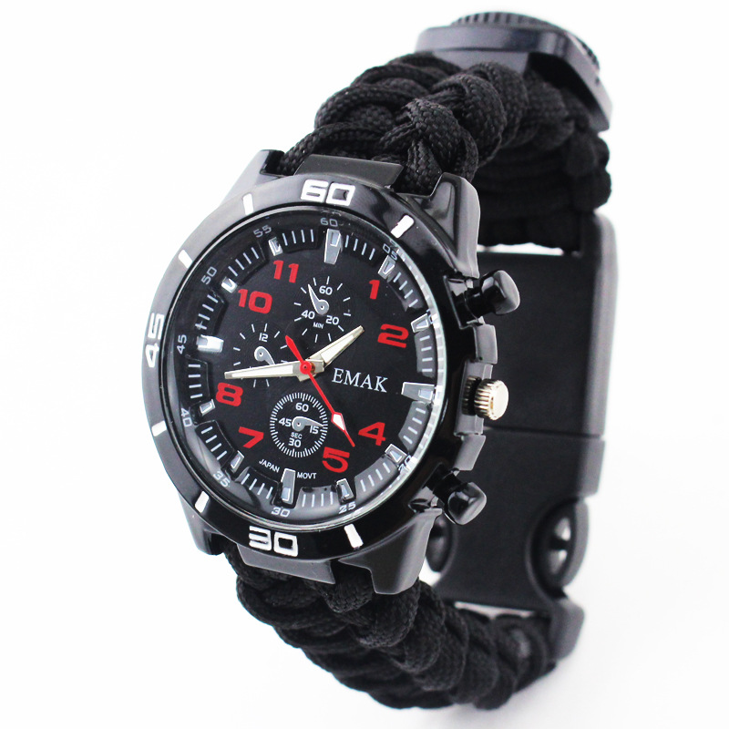 AliExpress Hot Selling Outdoor Camping Multi-functional Parachute Cord Survival Watch Hand-woven Watch Strap Adventure Mountaine