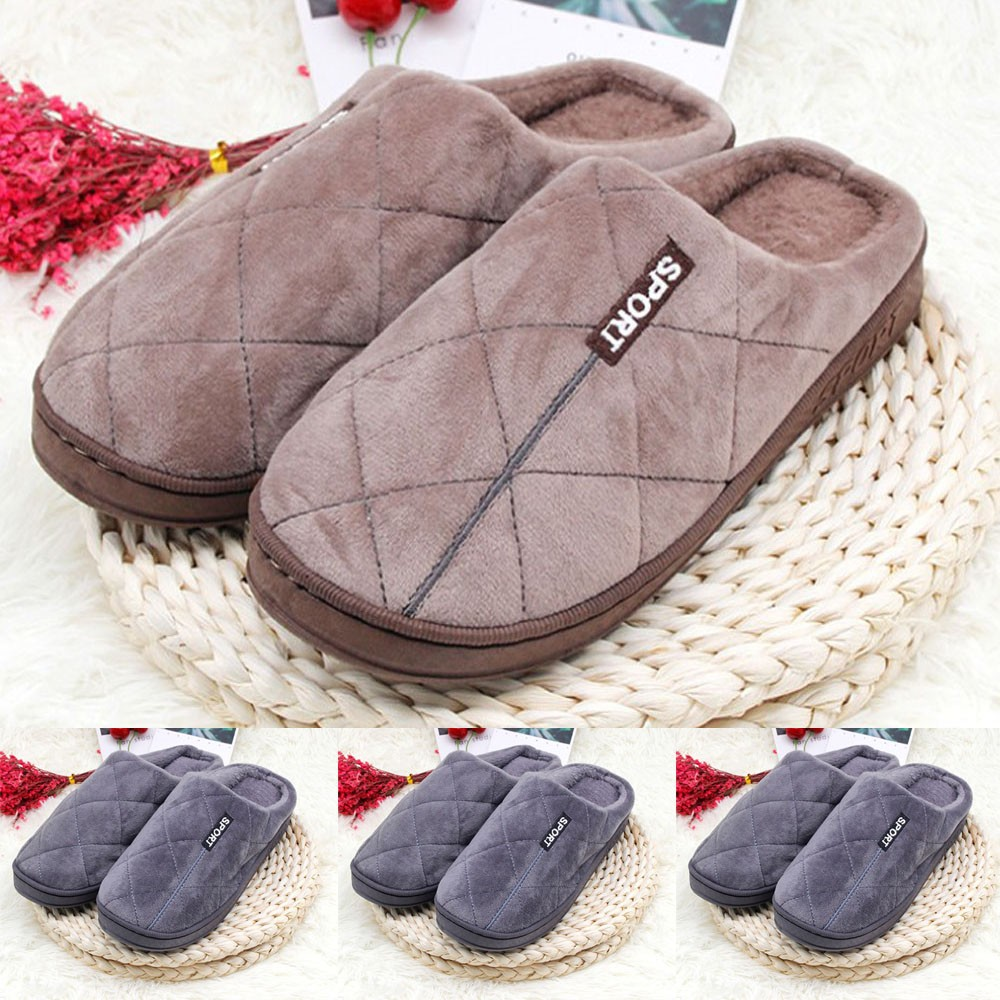 Men's Slippers Winter Slippers Non Slip Indoor Home Cotton Slippers Winter Couple Warm Cotton Non-Slip Floor Indoor Cotton Shoe