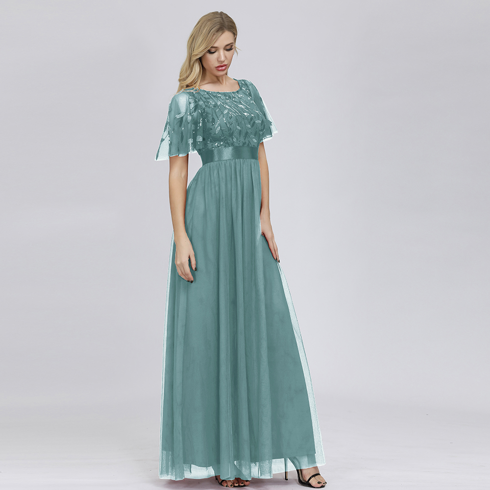 Купить с кэшбэком Robe De Soiree Sparkle Evening Dresses Long A-Line O-Neck Short Sleeve Formal Dresses Women Elegant Gowns Sequined Tulle Vestido