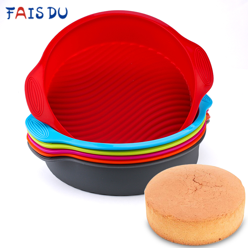 Silicone Round Food Grade Non Stick Cake Bakeware 3D Cake Mold Baking Tool Loaf Bread Tray Birthday Cake Dessert Pan Tools