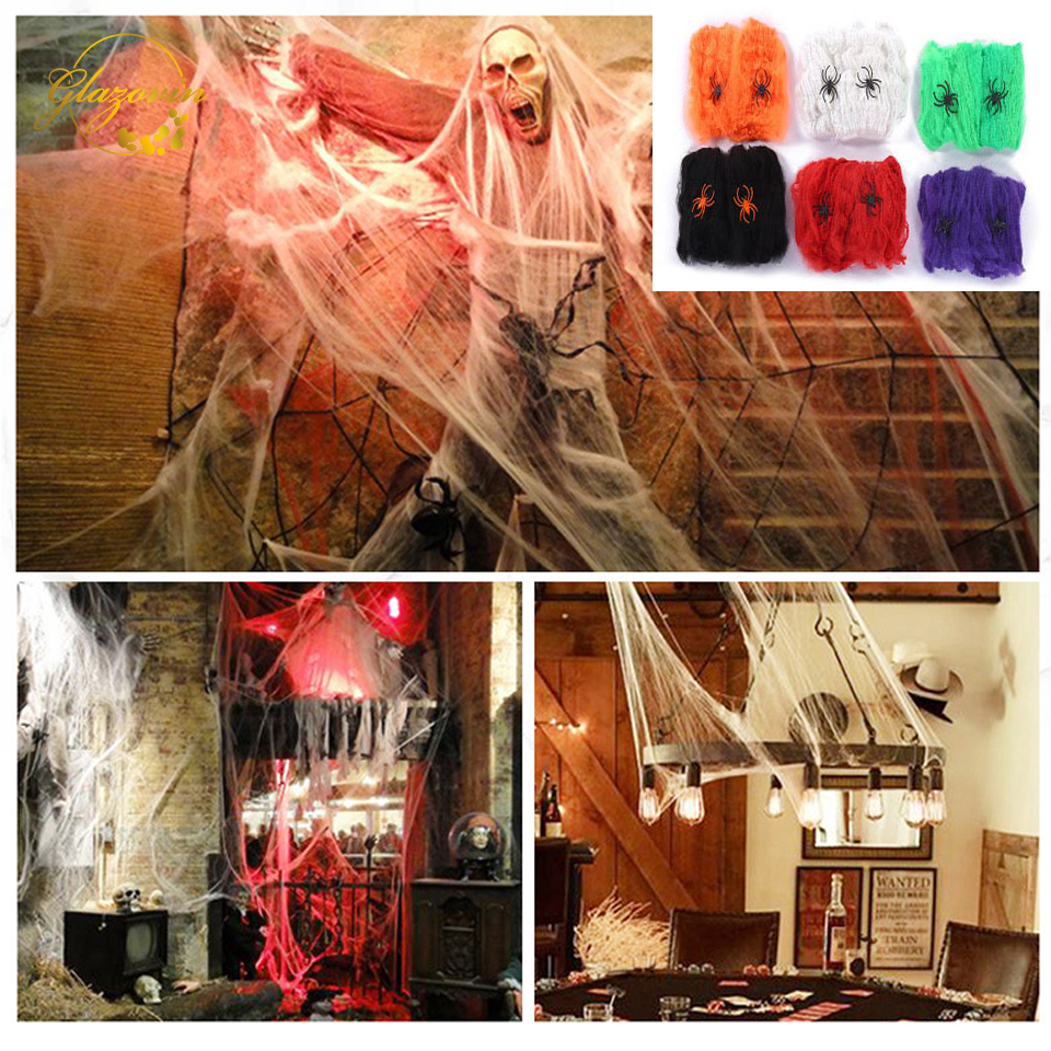 Scene New Haunted Prop Decoration Gift Decor Party Cotton Spider Web Halloween