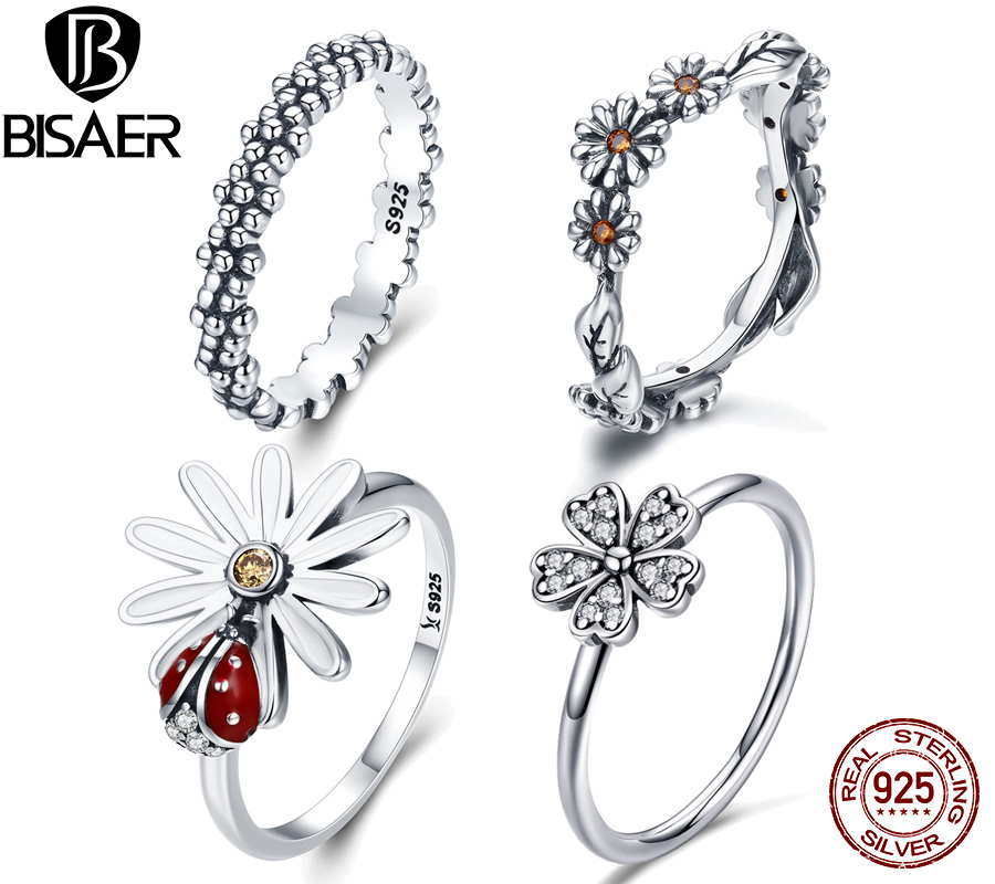 BISAER Real 925 Sterling Silver Flower Stackable Daisy Flower Rings For Women Ladybug Engagement Ring Jewelry Anel S925 WEU7628
