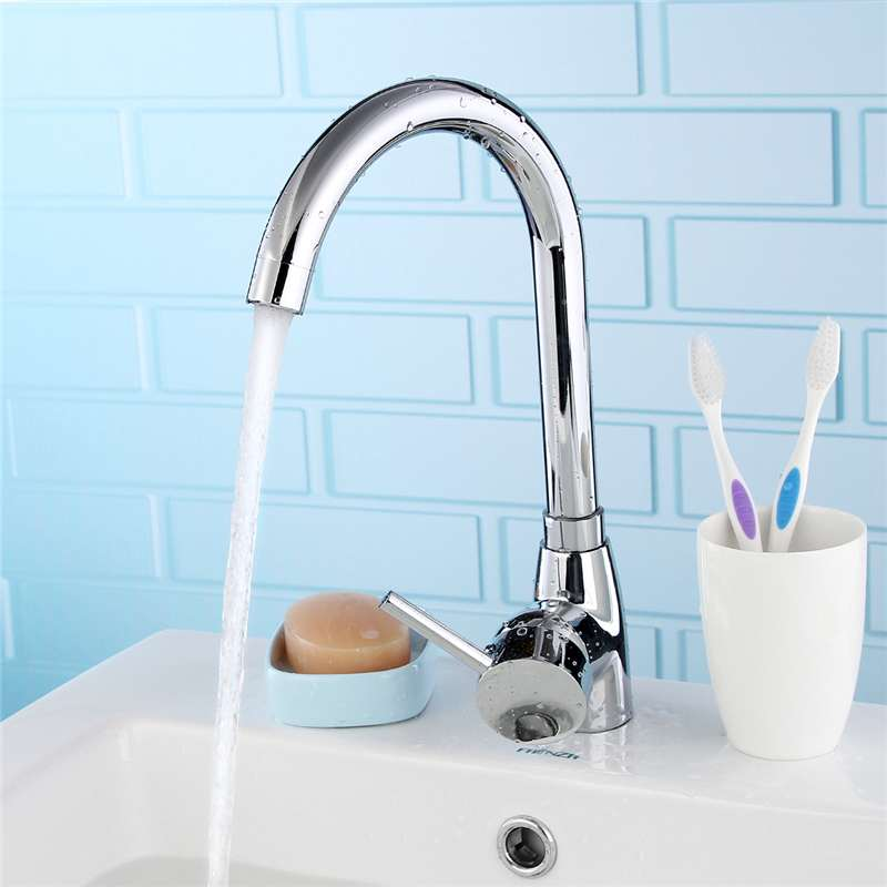 Solid Brass Chrome Kitchen Basin Faucets Sink Mixer Tap Single Handle Curved Tap 180Degree Rotatable Spout Cold And Hot Water