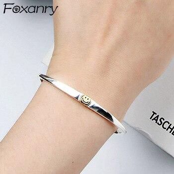Foxanry, pulsera minimalista de Plata de Ley 925 con cara sonriente para mujer, regalos creativos de moda para novias y bodas