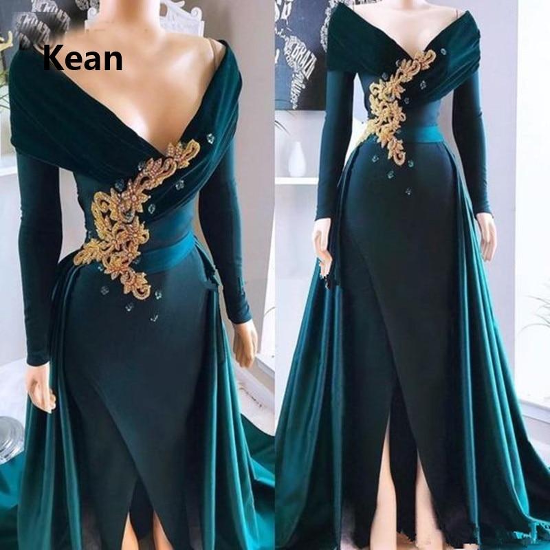 Emerald Green Evening Dress Slit Detachable Train Off Shoulder Vestido Islamic Dubai Kaftan Saudi Arabic Evening Gown Prom Dress