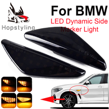 2Pcs Dynamic LED Fender Side Marker Turn Signal Lamps For BMW X6 E71 E72 X5 E70 X3 F25 Amber Flowing Turn Signal Lights