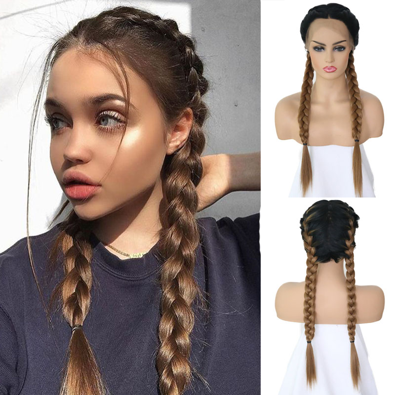 Rongduoyi Twist Braids Black Dark Roots Ombre Color Synthetic Braided Lace Front Wig With Baby Hair High Temperature Fiber