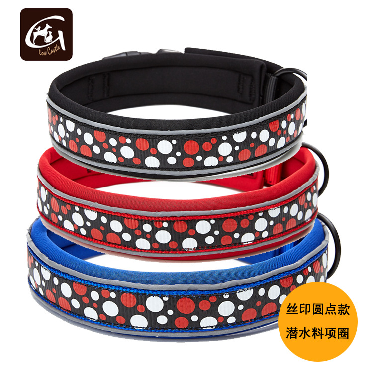 Guangzhou Pet Supplies New Products 2019 Screen Printing Dotted-Neoprene Lining Nylon Pet Collar Dog Neck Ring