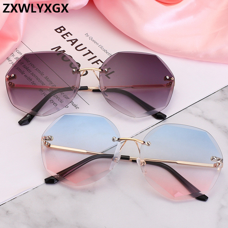 Fashion Rimless Sunglasses Women Brand Designer Sun Glasses Gradient Shades Cutting Lens Ladies Frameless Metal Eyeglasses UV400