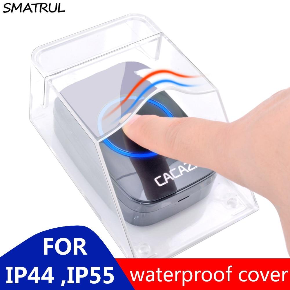 SMATRUL Waterproof cover Wireless Doorbell smart Door Bell ring chime button Transmitter Launchers Heavy rain snow for CACAZI|Doorbells|   - AliExpress
