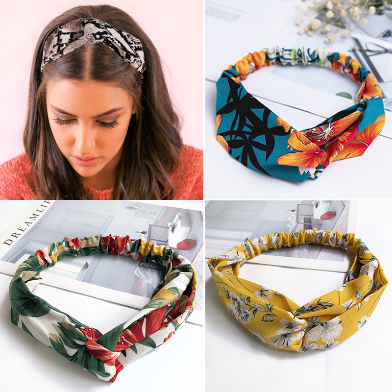 Scarf Ribbon Headbands Hair-Accessories Ties Flower-Print Cross-Knot Elastic Fashion