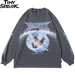 Футболка для мужчин в стиле хип-хоп, уличная футболка в стиле ретро с принтом ангела, футболка в стиле Харадзюку, свободные хлопковые топы оверсайз с длинным рукавом, 2020