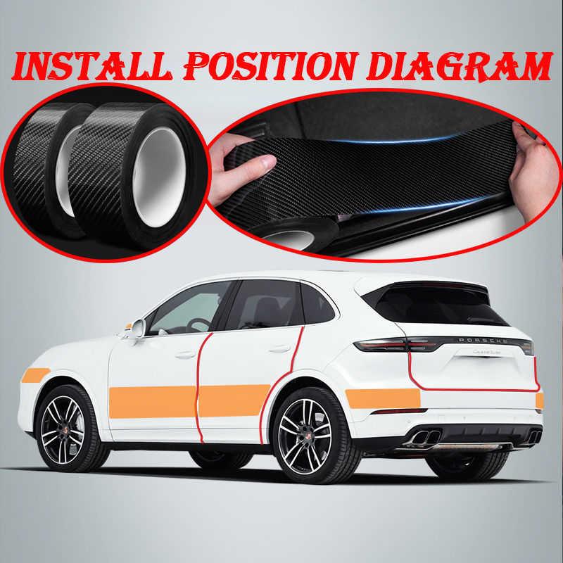 De carbono para coche Umbral de puerta cuerpo película impermeable etiqueta engomada para Renault Megane 2 Duster Clio Honda Civic Fit VW touareg mk7 MK5 Mazda