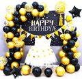Цвета: черный, золотистый, металлические шары комплект гирлянды черные шары с золотыми конфетти арка для вечерние, хороший подарок на день р...