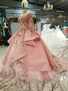 Image 3 - BGW 2020 Pink Special Dubai Puffy Party Dresses High Neck Long Tulle Sleeve Lace Up Back Evening Dresses Muslim Styles