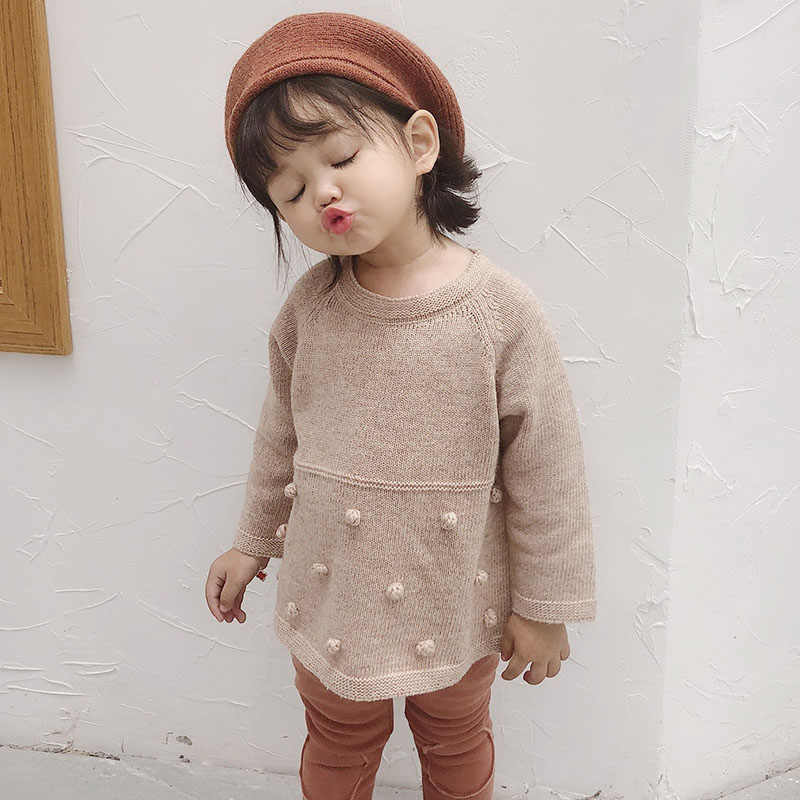 Baby Girls Hair Bulb Knitted Sweaters Children New Product Autumn Winter High Quality Girls Long Sleeve Cotton Dress Sweaters