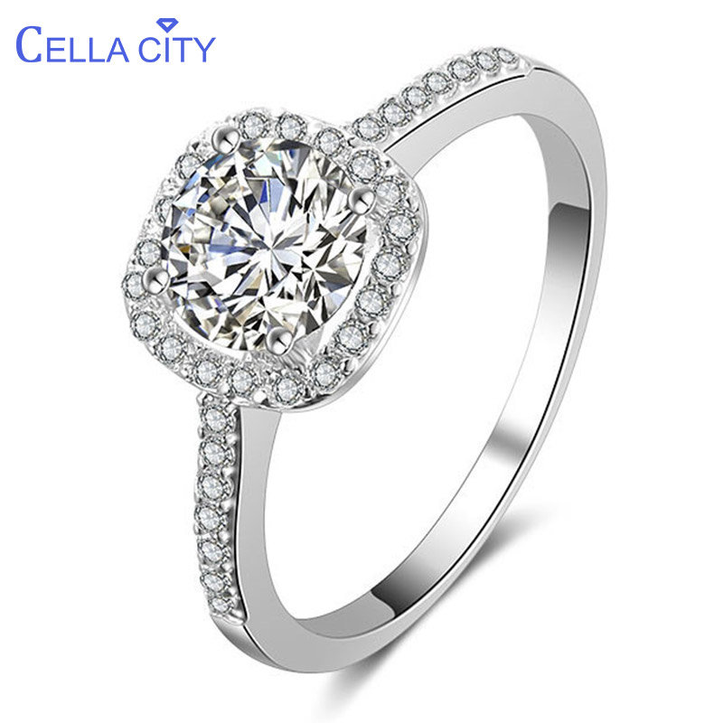 Cellacity Trendy Silver 925 Jewelry Large Gemstones Ring For Women Elegant Wedding Accessory Daily Dating Gift Female Size 6-9