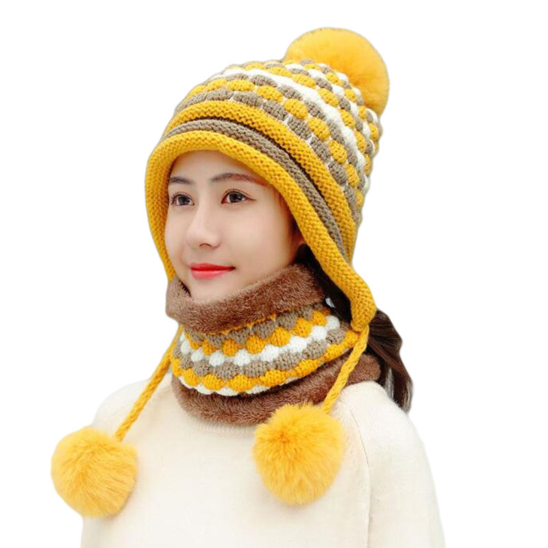 BINGYUANHAOXUAN 2019 New Fashion Female Winter Wool Knitted Hat Women Scarf Caps Warm Winter Hats For Girls Skullies Beanies