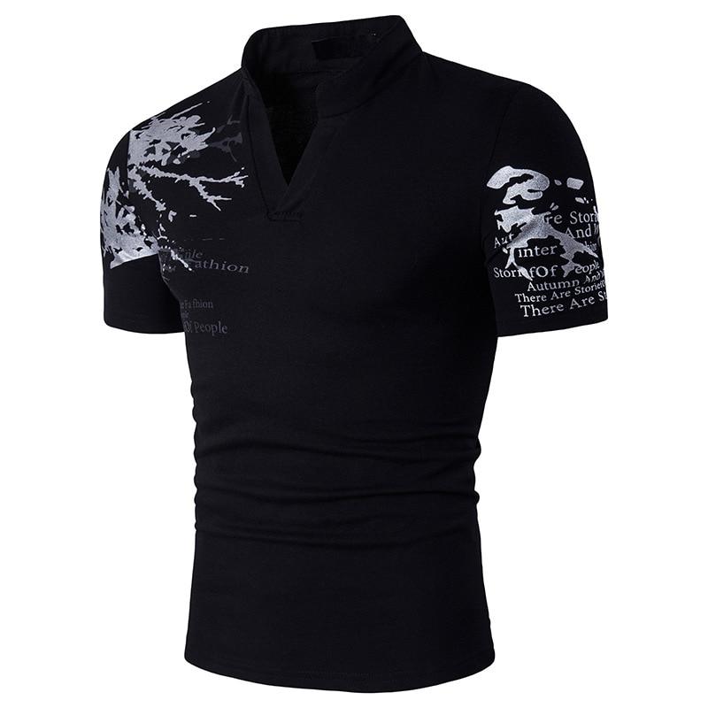 Dingshite Summe New Men's Fashion Short Leeve Stand Collar T Shirt 2