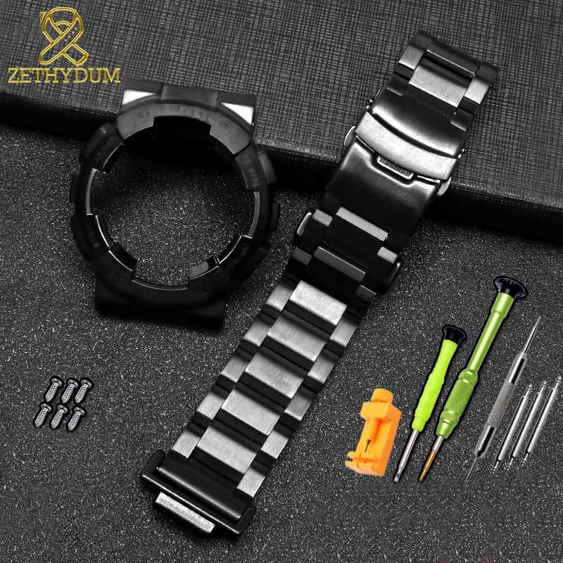 Solid Stainless Steel Watchband And Case For GA-110GB GA110/100 GLS-100 Watch Band Solid Metal Modify Bracelet Watch-case