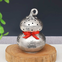 Pure handmade silver 999 auspicious incense burner hollow Zen craft interior decoration aloe incense incense burner