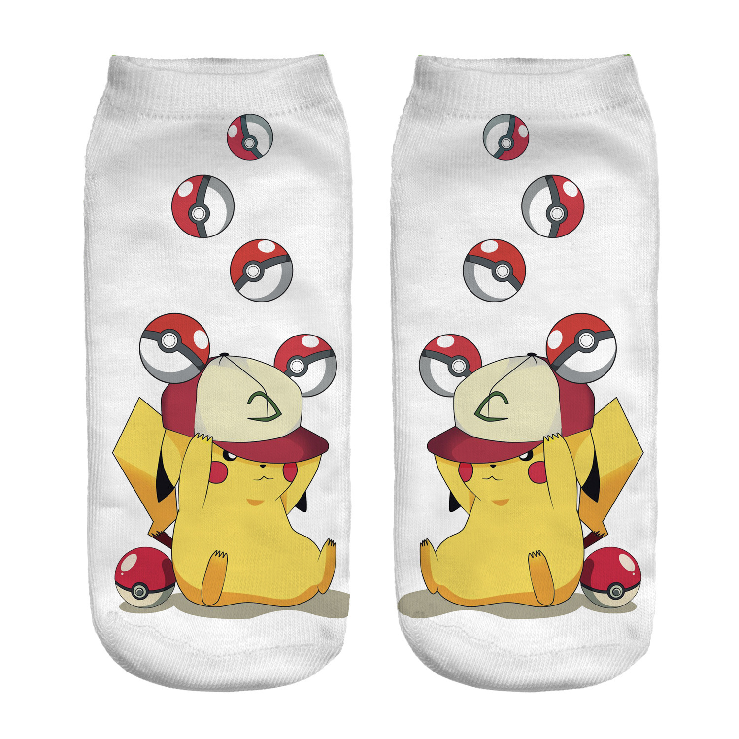 Kawaii Pokemon Poke Ball Pikachu Girl Cotton Socks Funny Woman Cute Socks Japanese Cartoon Printed Boy Short Socks